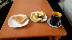 Plant, Pottery, Saucer, Furniture, Table, Bread, Food, Wood, Fruit, Dining Table, Coffee Cup, Cup, Plywood, Pancake, Coffee Table