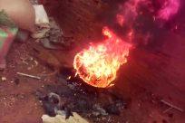 Fire, Flame, Bonfire, Mountain, Flare, Light, Forge, Water, Ocean, Sea, Volcano, Shoreline, Coast, Eruption, Lava