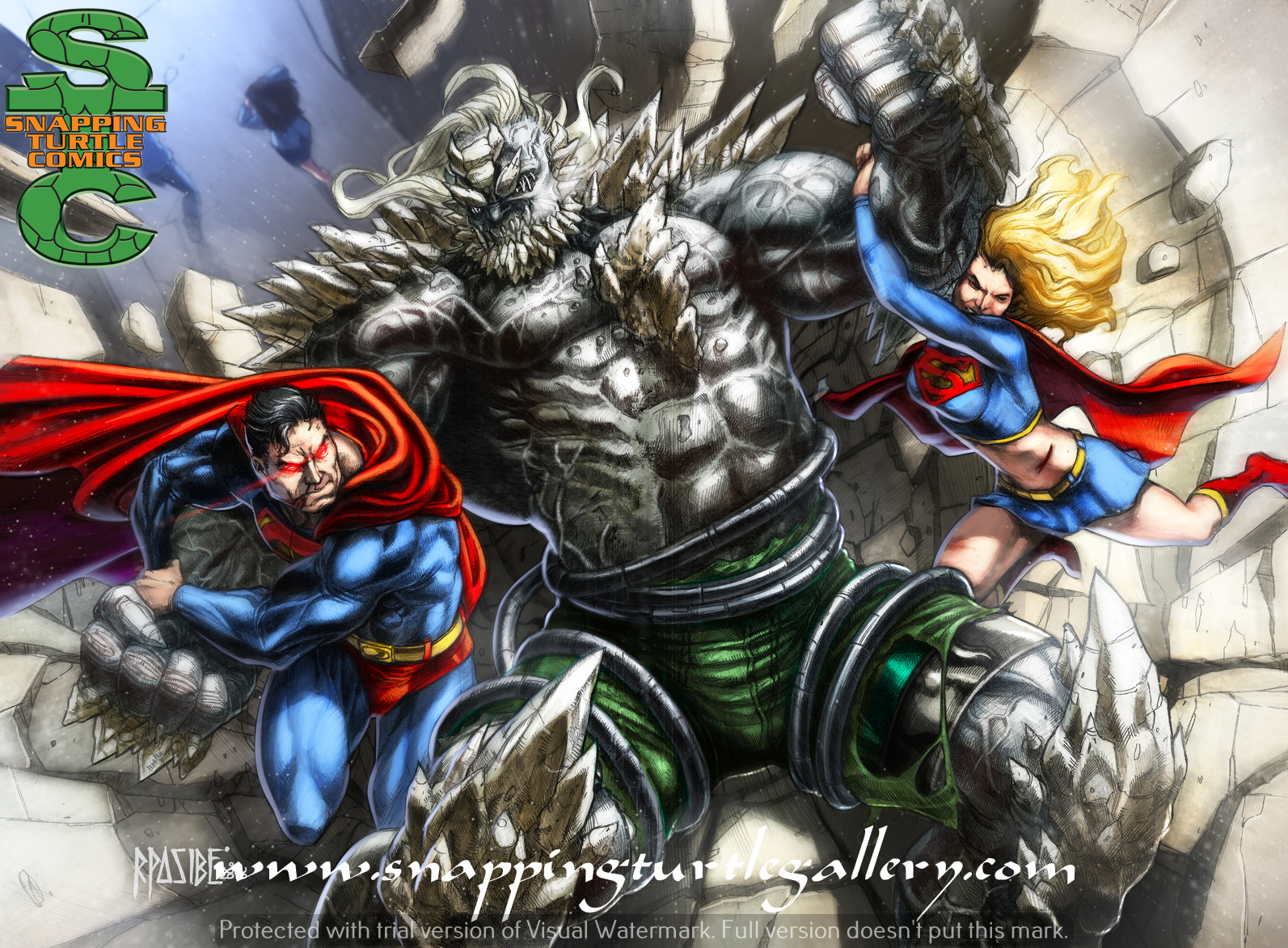 Superman And Supergirl Vs Doomsday