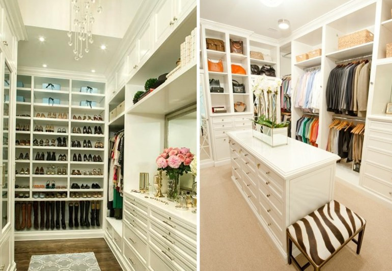 dream master closet inspiration white creative shelving rug carpet jewelry purses desk makeup drawers lighting