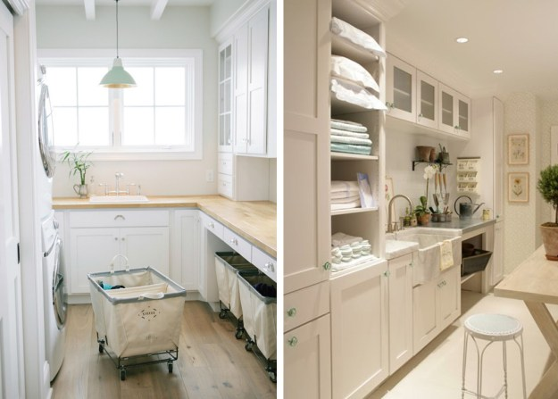dream laundry room - natural light, creative space, washer dryer, white, tile, wood