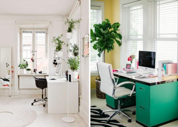 creative desk space home office modern white gold blogger dream