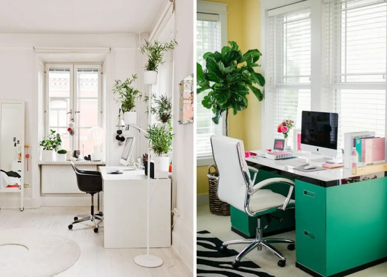 creative desk space home office modern white gold blogger dream