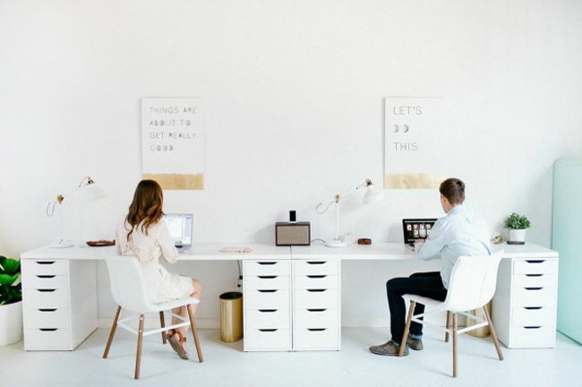 creative desk space home office modern white gold blogger