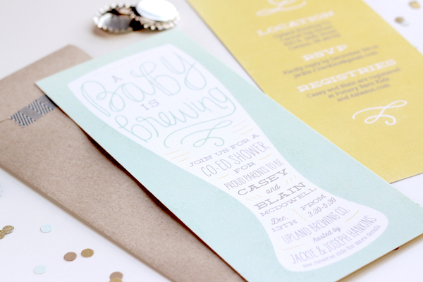 Amazing Creative Baby Shower Invitations Brewery Library Literary Gender Neutral  Polka Dots Gold Kraft Paper ...