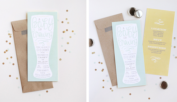 creative baby shower invitations brewery library literary gender neutral polka dots gold kraft paper