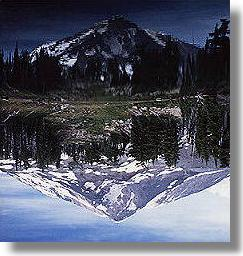 Mountain reflecting in a crystal lake
