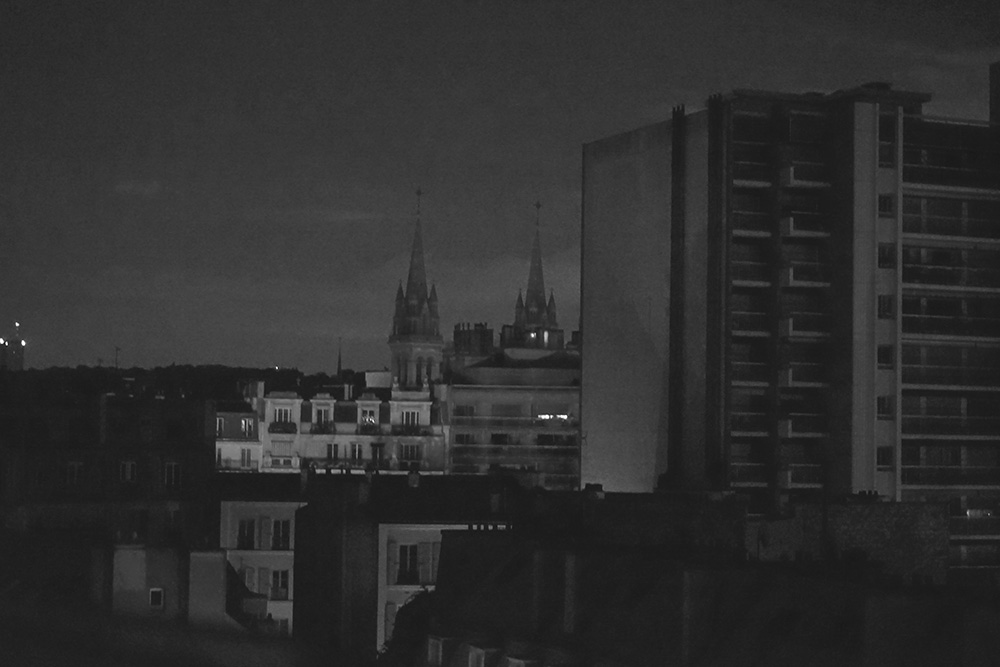 paris rooftops at night