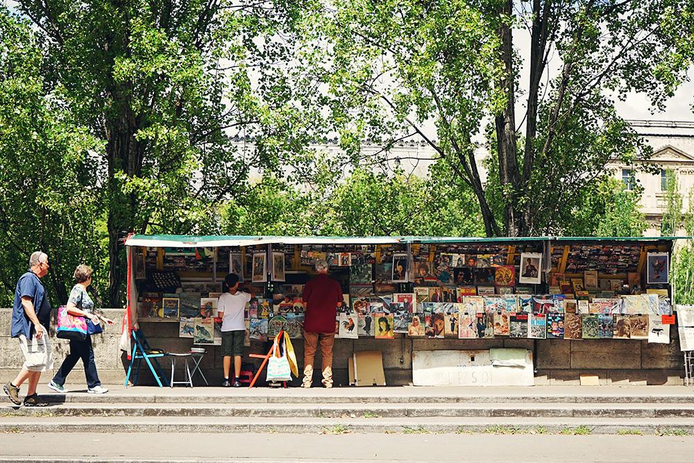 paris france shops on the seine