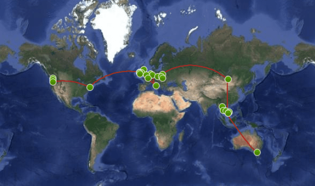 around the world route