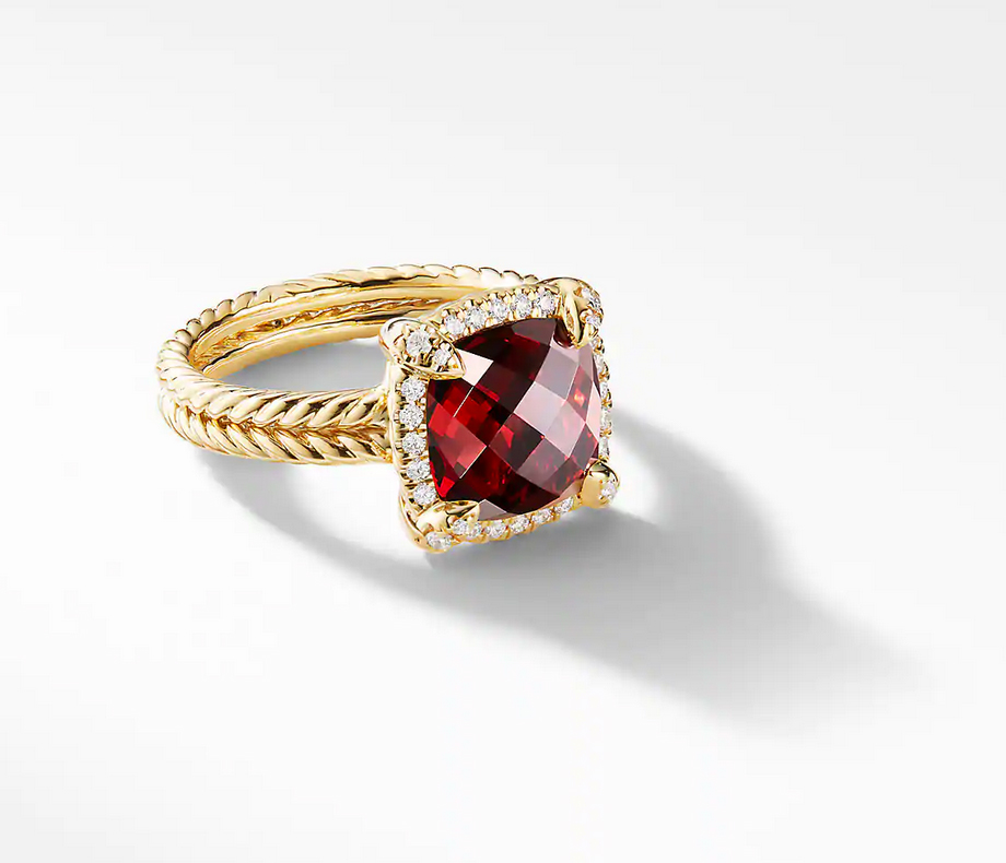 David Yurman Châtelaine Pave Bezel Ring with Garnet and Diamonds in 18K Gold