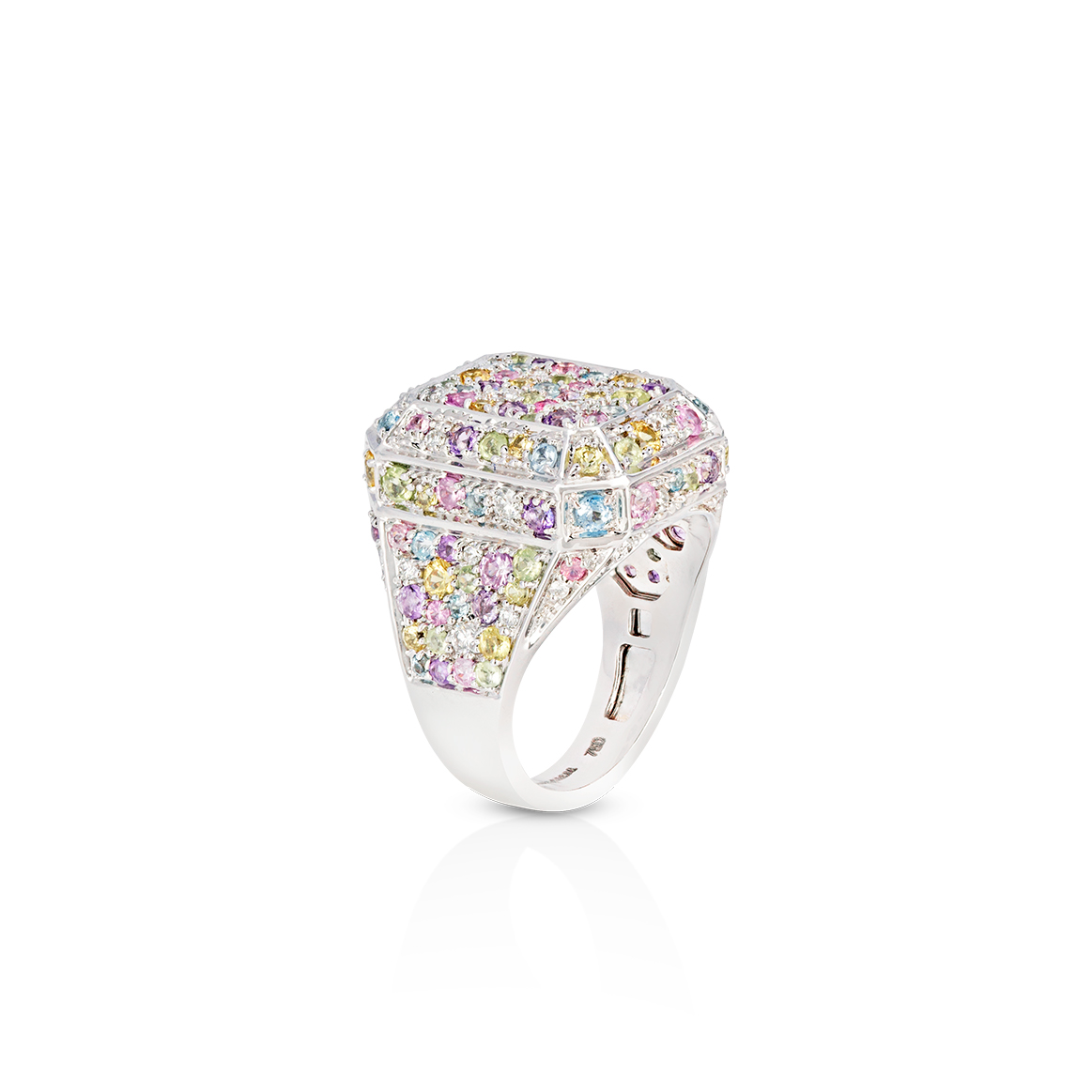 Disco White Gold Ring by Aisha Baker in 18K White Gold with Diamonds, Yellow and Pink Sapphire, Aquamarine, Peridot and Amethyst ($5,500)