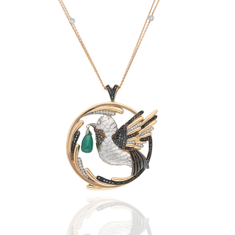 The Emerald Hummingbird Medallion Limited Edition by Terzihan in 18K Rose and White Gold with White and Black Diamonds and Emerald with Gigi Chain ($12,510).