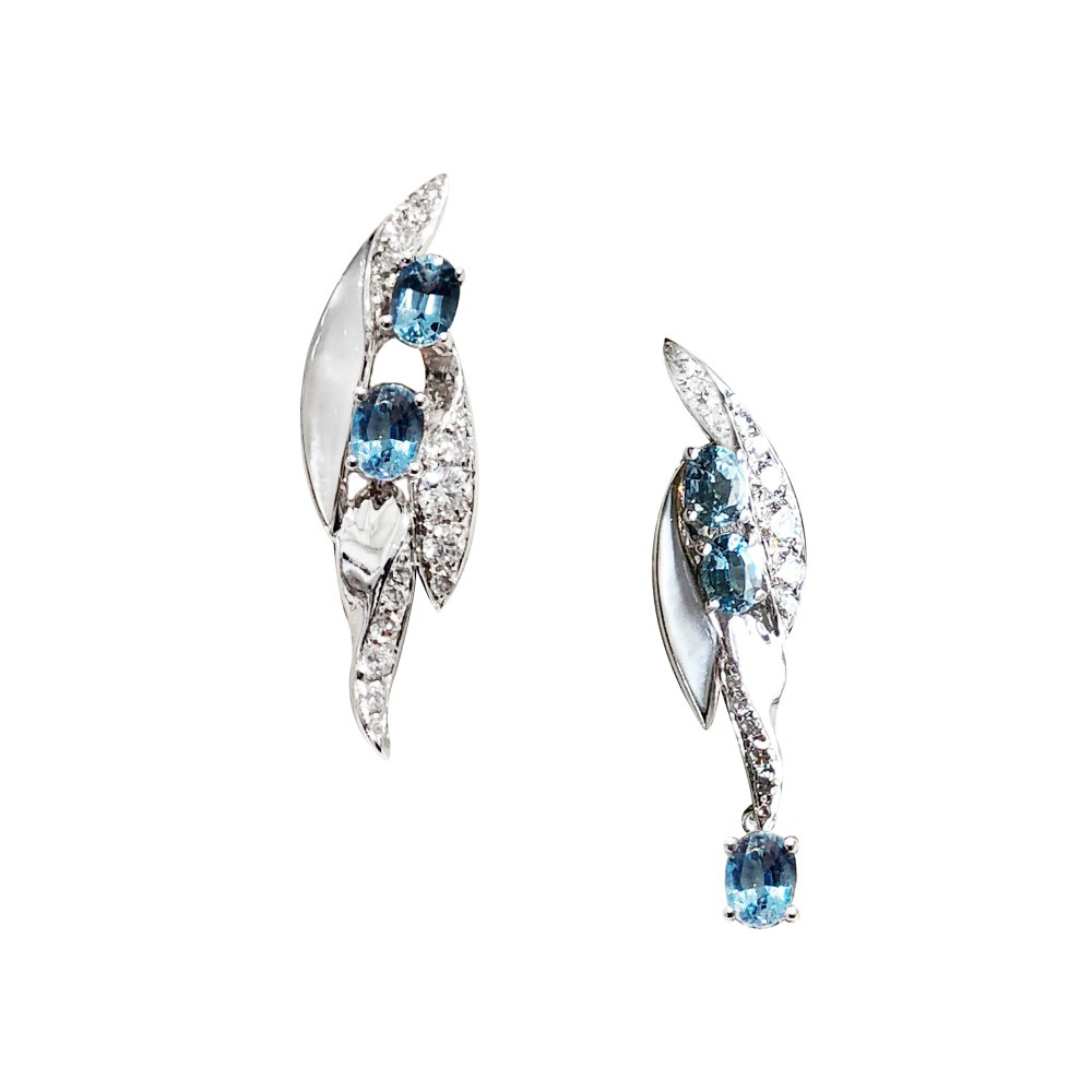 Wings of Hope by Simone in 18K White Gold with Aquamarines, Diamonds and White Mother of Pearl ($4,635).
