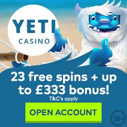 Yeti Casino 100% Casino Bonus 110 Free Spins
