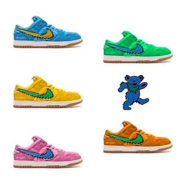 Grateful Dead - Nike SB Dunk Low - Dancing Bears - green, yellow, orange, pink and blue