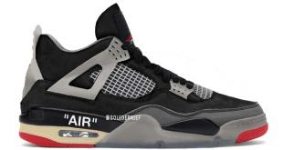 Off White x Nike Air Jordan 4 - Black-Red (Bred)