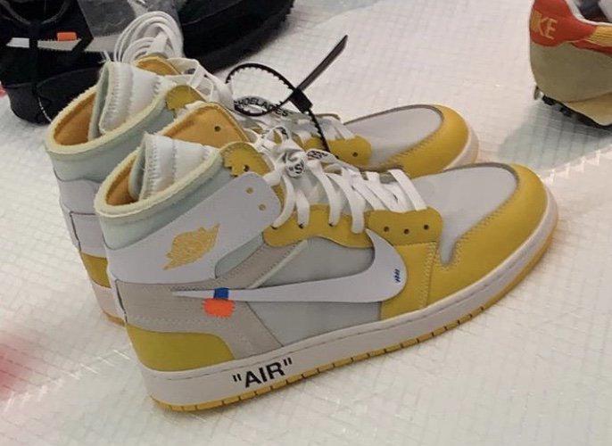 """Nike x Off-White Air Jordan 1 """"Yellow"""" - Különleges de release nélküli cipő"""