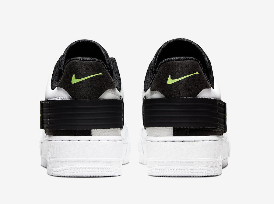Nike Air Force 1 Type in White, Black and Volt