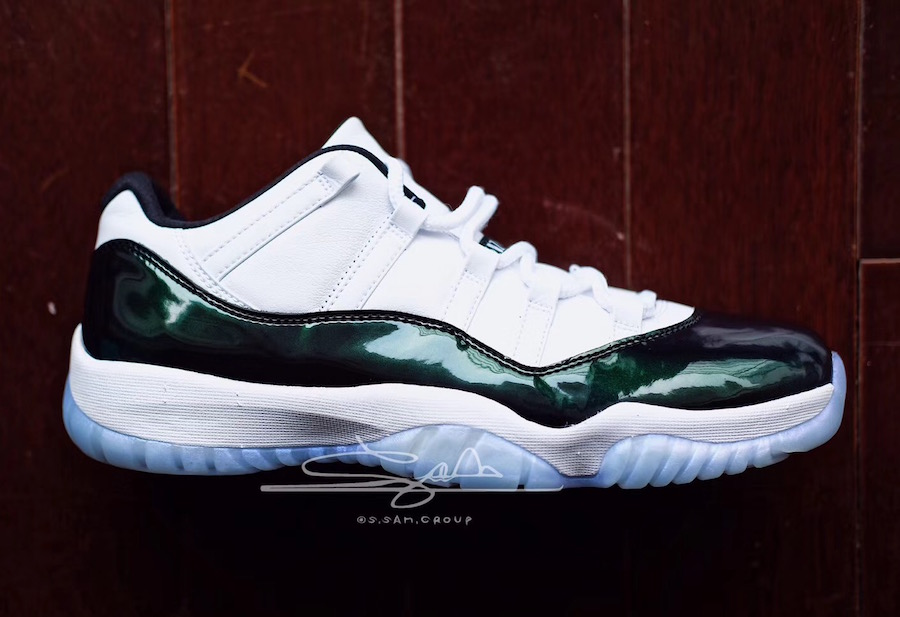 0a731a41993 A Look At The 2018 Air Jordan 11 Low Emerald Easter & Release Date ...