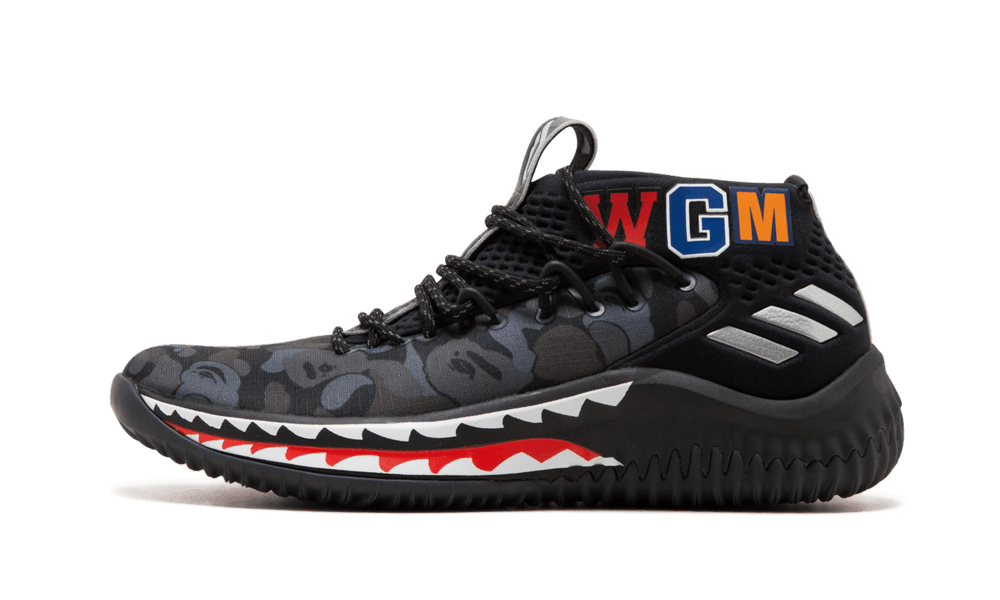 Adidas DAME4 BAPE 'Black Shark ABC Camo' Shoes - Size 10