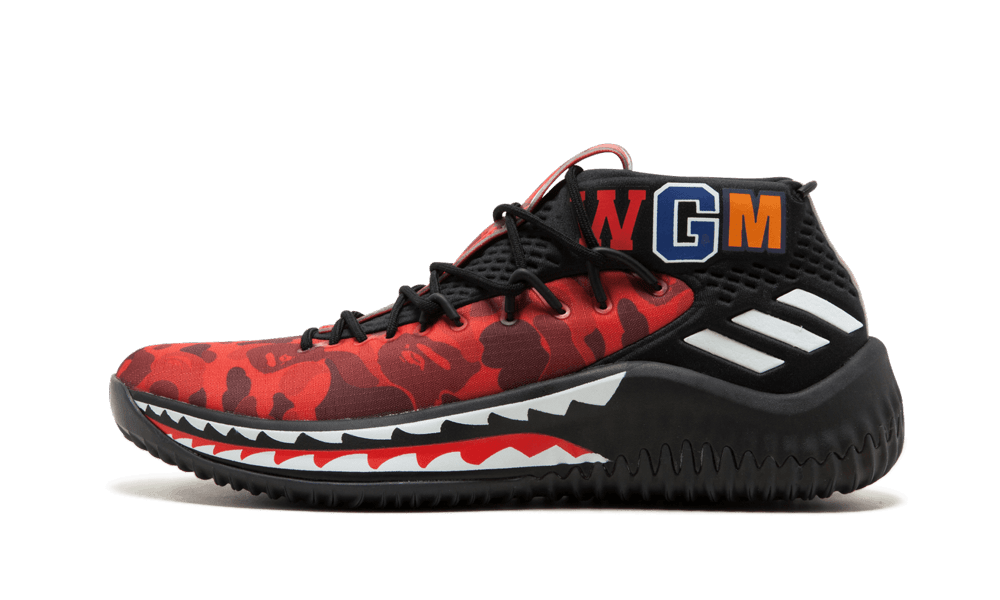 Adidas DAME4 Bape 'Red Shark ABC Camo' Shoes - Size 8.5