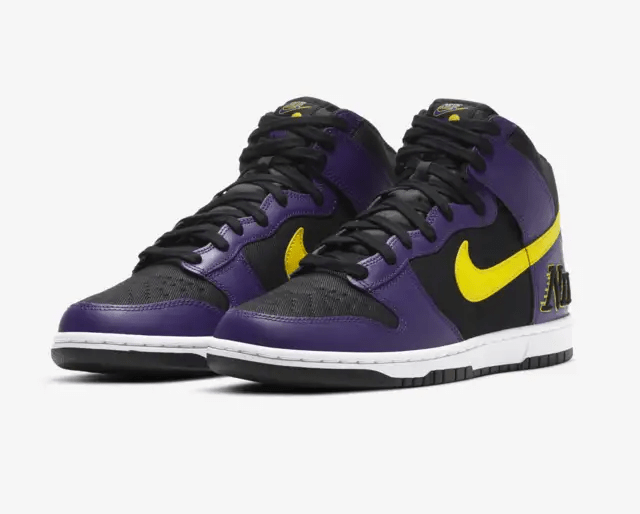 Release Date: Nike Dunk High EMB 'Lakers'