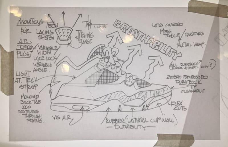 Croquis original de la Air Jordan IV par Tinker Hatfield
