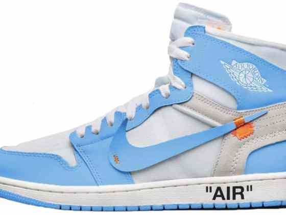 "Off-White x Nike Air Jordan 1 ""Dark Powder Blue"""