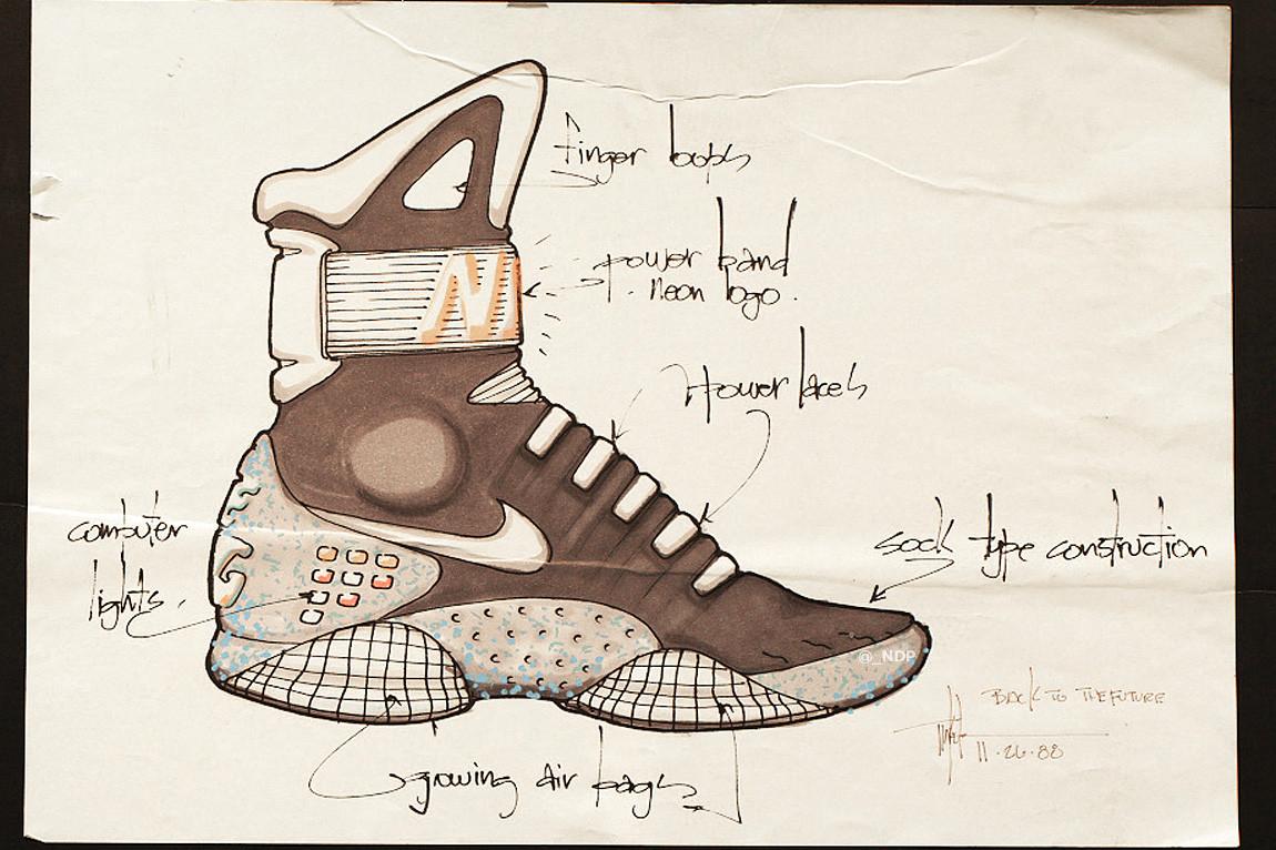 L'un des nombreux croquis de la Nike Air Mag réalisés par Tinker Hatfield
