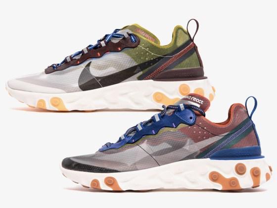 Nike React Element 87 ''Dusty Peach'' et ''Moss''
