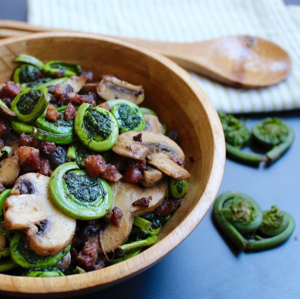 Fiddleheads with Mushrooms and Pancetta