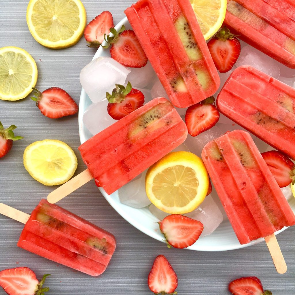 Strawberry and Lemon Popsicles