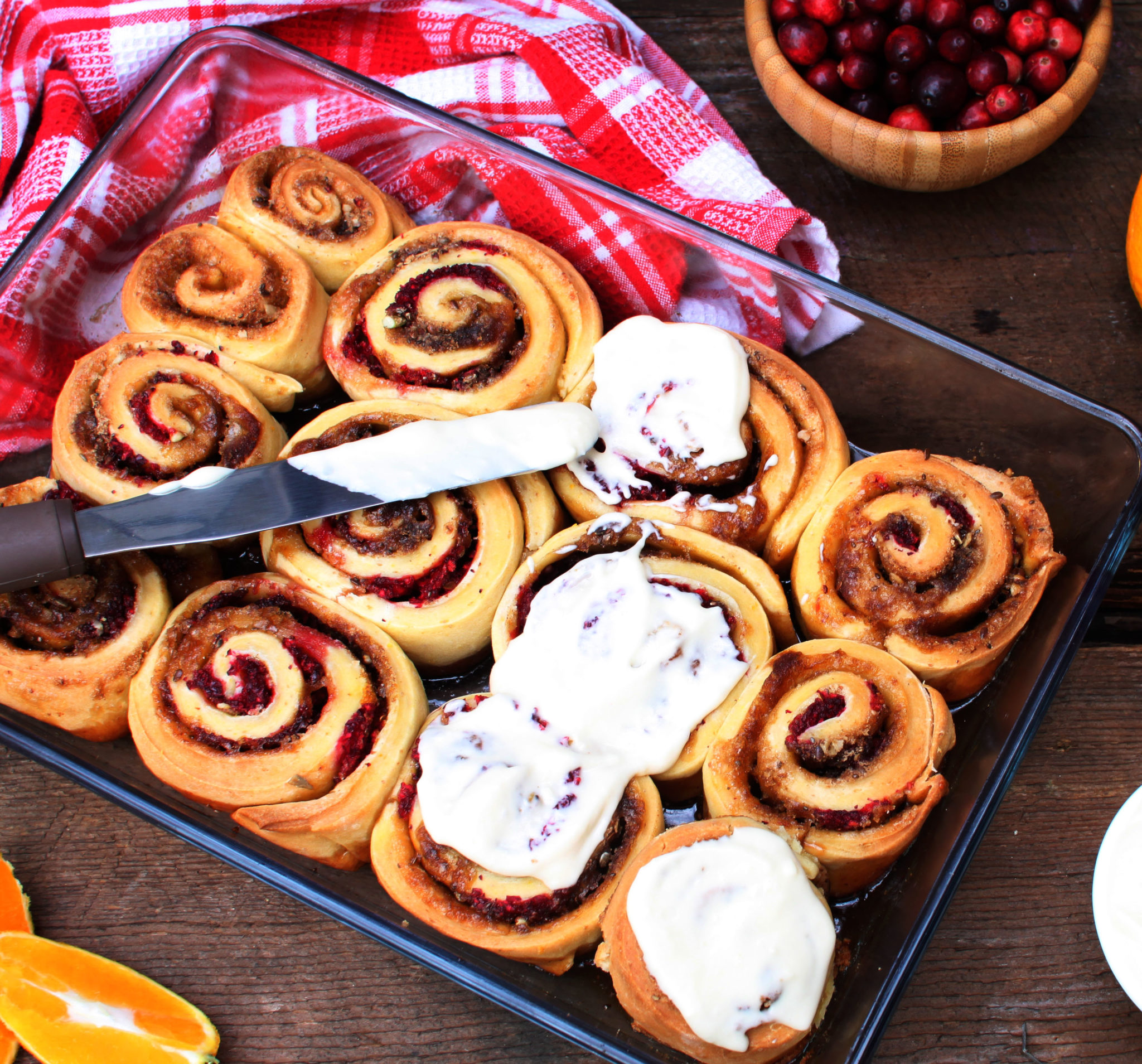 Sneaky Cranberry Buns with Maple Cream Cheese Icing