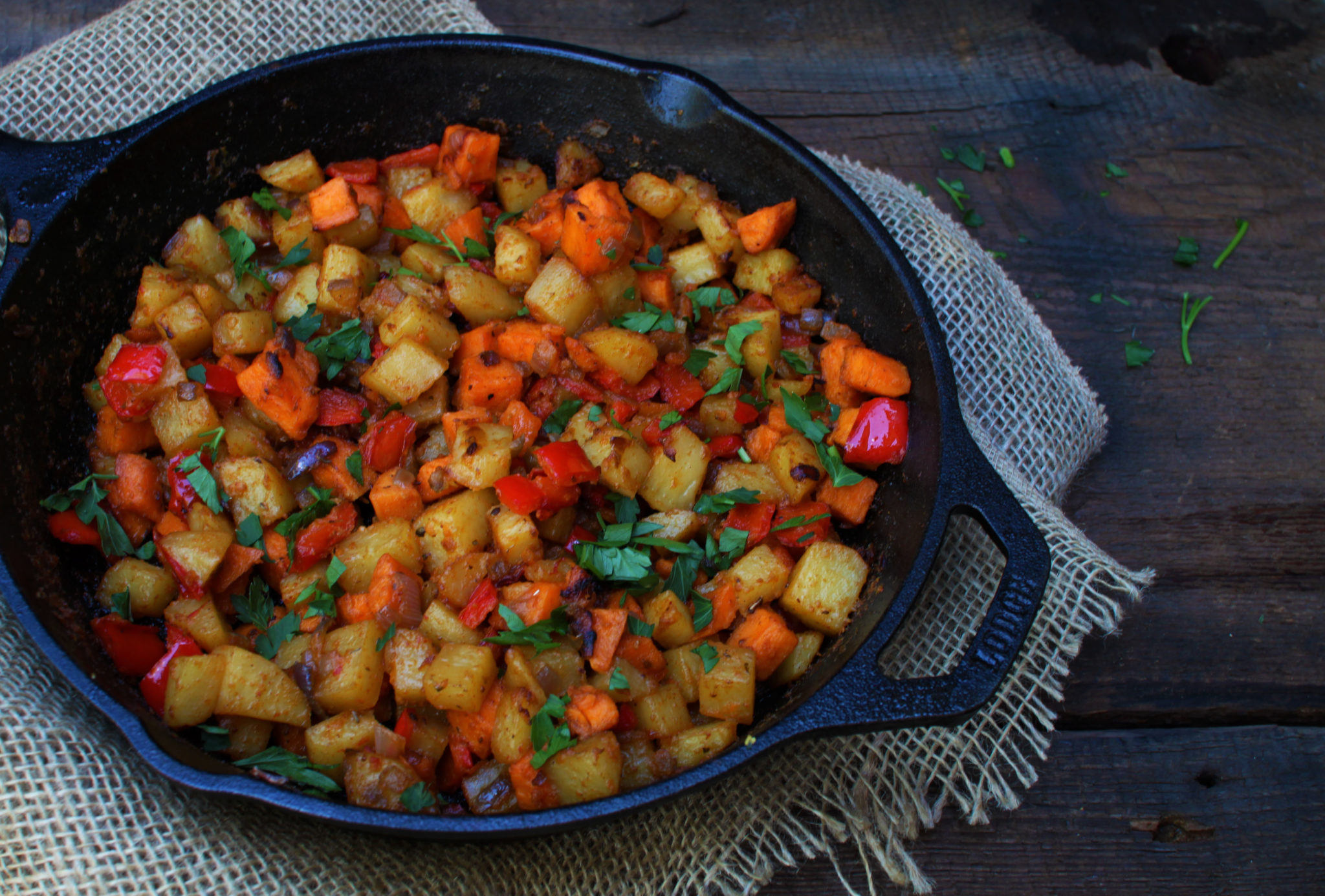 Bacon, Pepper & Mixed Potato Hash