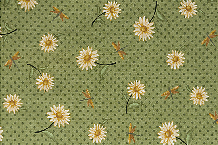 Daisies and polka dot bright-green fabric pattern