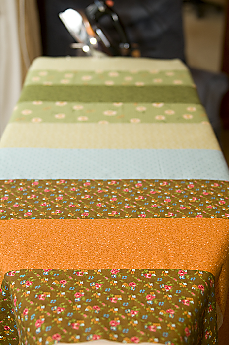 Strips of fabric prepared for Sunshine and Shadow quilt