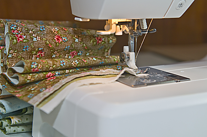 Sewing the strips of fabric