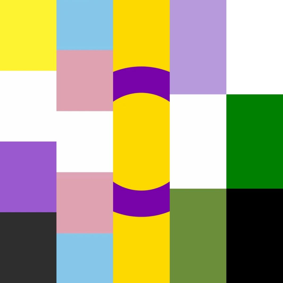 Kuva on kokoelma erilaisista sukupuolen moninaisuuteen liittyvistä lipuista.