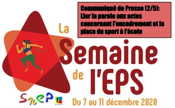 CP SNEP-FSU Guadeloupe (2/5) : <br>Une semaine de l'EPS pour lier la parole aux actes concernant l'encadrement et la place du sport à l'école