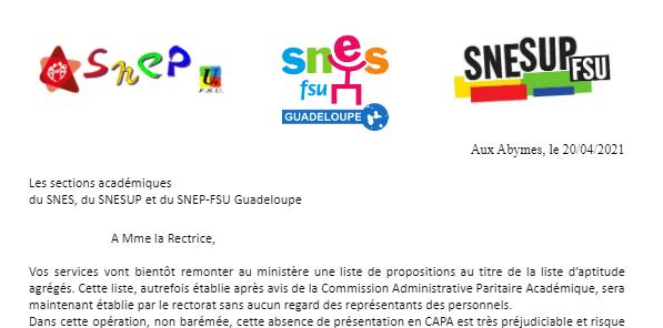 Courrier SNEPSUP, SNES et SNEP à  Mme La Rectrice et concernant la Liste d'Aptitude agrégés 2021
