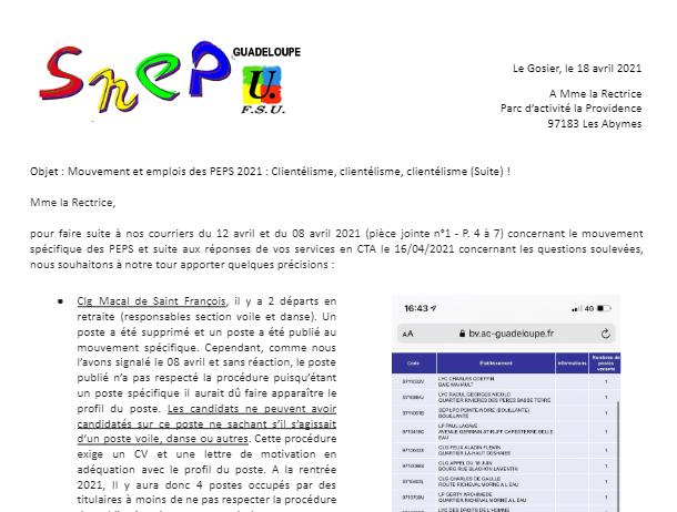 Courrier SNEP-FSU à Mme la Rectrice, Mouvement et postes des PEPS : Clientélisme, clientélisme, clientélisme (Suite) !