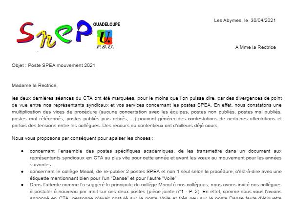 Courrier SNEP-FSU à Mme la Rectrice concernant les Postes SPEA PEPS 2021