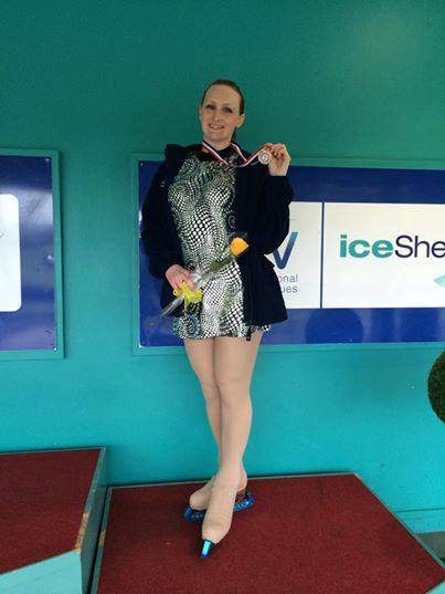 Janet Donaldson won Bronze in her age category at the British Figure Skating Championships in Sheffield, Jun 2014