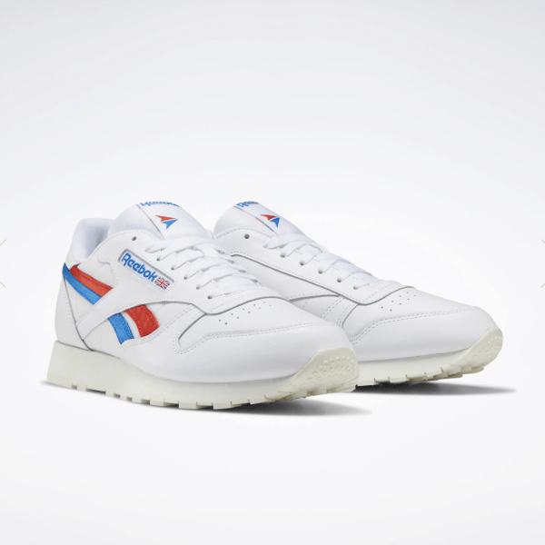 Reebok Classic Leather Shoes in white, instinct red, and dynamic blue.