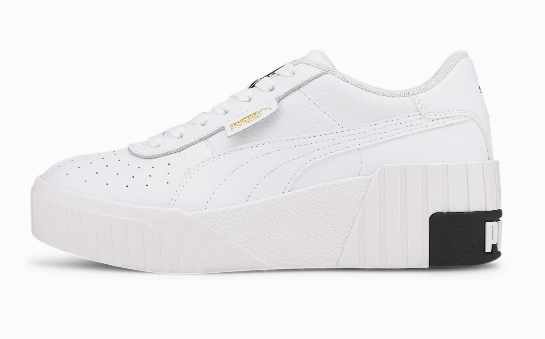 Puma Cali Wedge sneakers in white, with a synthetic leather upper and a midsole design featuring a wedge heel.