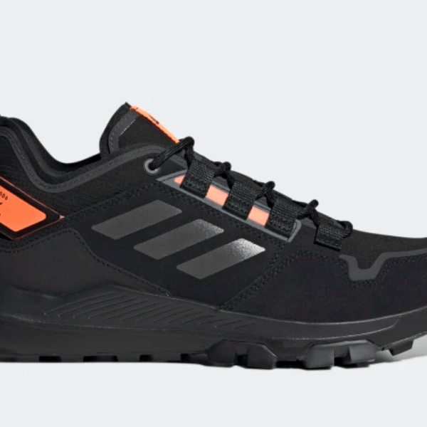 Adidas Black Terrex Hiking Low Sneakers in core black and signal orange