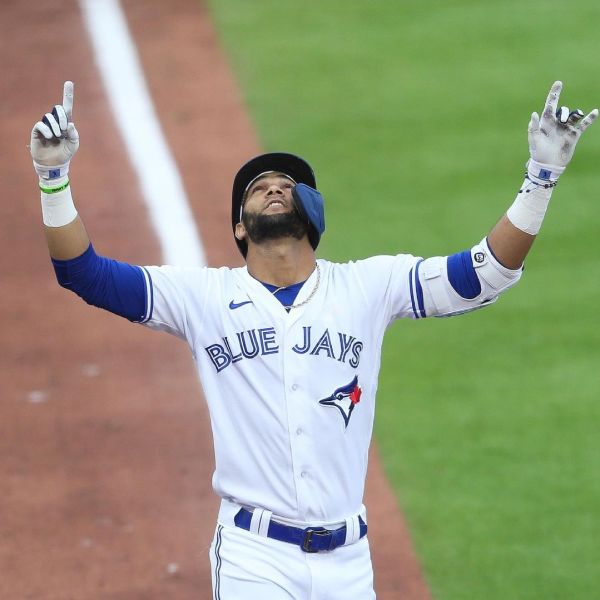 Blue Jays player Lourdes Gurriel Jr. points to the sky in celebration after hitting a grand slam