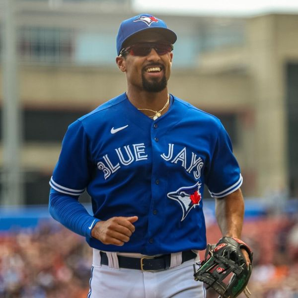 Toronto Blue Jays roster member Marcus Siemen smiles during the team's win on Saturday