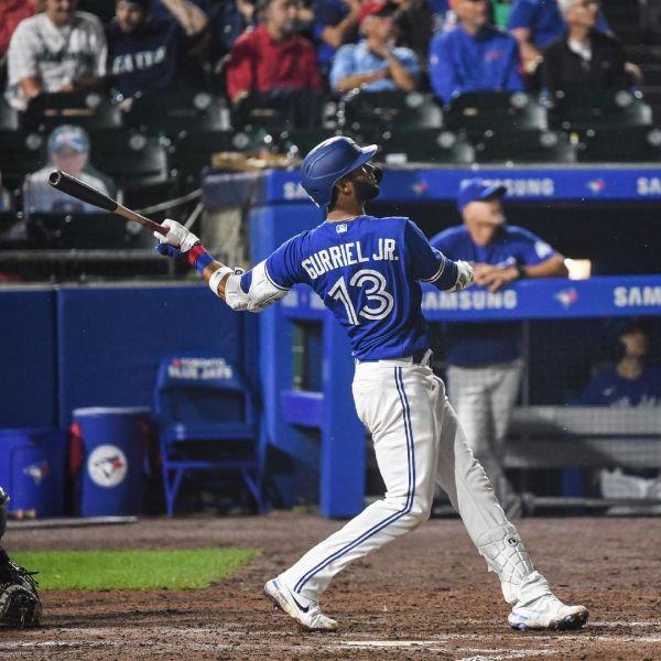 Blue Jays Player Lourdes Gurriel Jr. hits a homerun during the game against Seattle